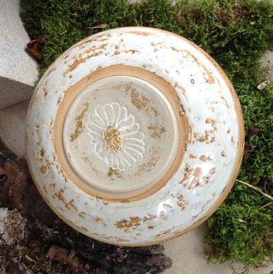 Keramik Urne handgemacht, Dekor Margerite