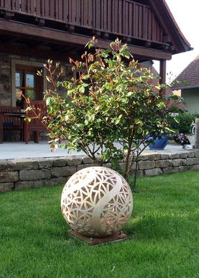 Keramik, Lichtobjekt Kugel ø ca. 45 cm Perlmutt