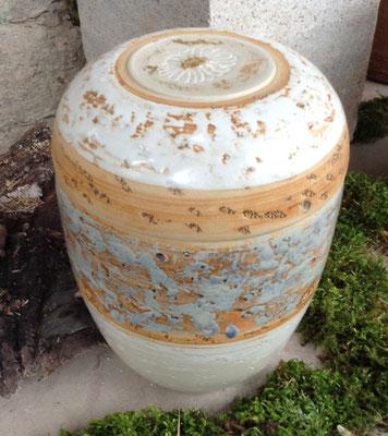 Keramik Urne handgemacht, Dekor Carmargue mit Margerite
