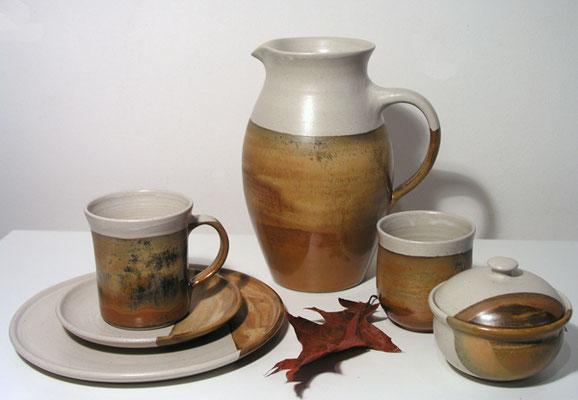Keramik, Herbstwald Dekor Tee- oder Kaffeegedeck Krug Becher Dose