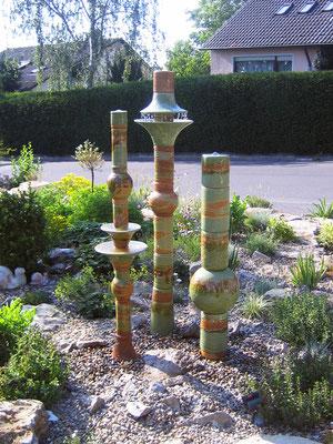 Keramik Brunnen, 3 Wassersäulen in Neuseeland Dekor glasiert