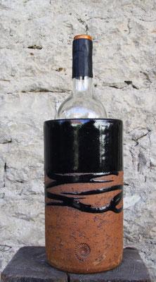 Keramik Weinkühler Literflasche, Dekor schwarz natur