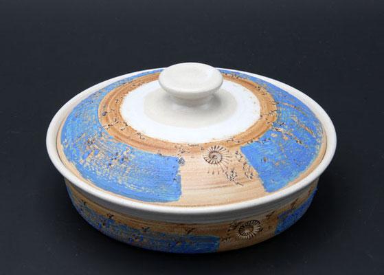 Keramik, Butterdose ø ca. 17,5 cm h. 4.5 cm,  Dekor Santorin