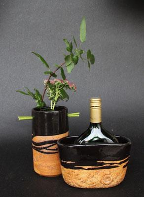 Keramik Weinkühler für Literflasche oder Bocksbeutel, Dekor schwarz natur