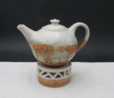 Teekanne Dekor Neuseeland mit Stövchen