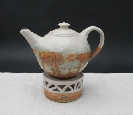 Teekanne, ca. 1,5 l, Dekor Neuseeland mit Stövchen