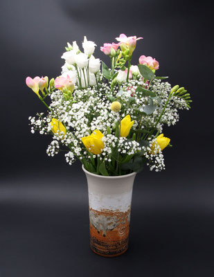 Keramik Vase Dekor Basalt, ø oben ca. 14,5 cm, ø unten ca. 10 cm h. ca. 24 cm