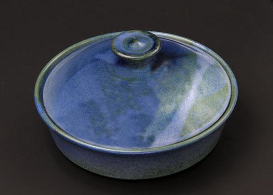 Keramik, Butterdose ø ca. 17,5 cm h. 4.5 cm,  Dekor Blick ins Meer