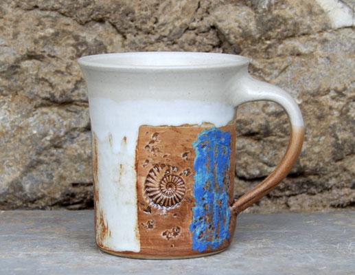 Keramik Tasse zylindrisch Santorin, H ca. 10 cm ø oben ca. 9,5 cm