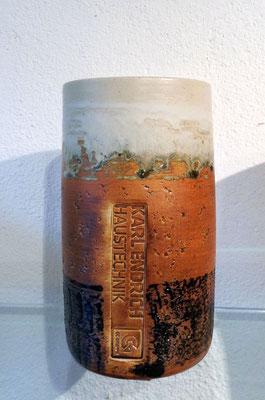 Keramik Weinkühler Literflasche, Dekor Basalt mit Kundenstempel