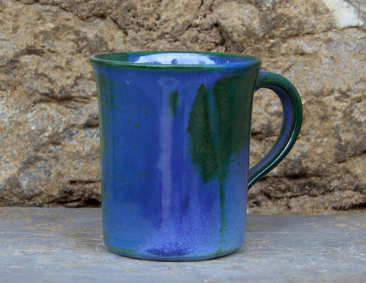 Keramik Tasse zylindrisch Blick ins Meer, H ca. 10 cm ø oben ca. 9,5 cm