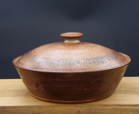 Keramik, Backtopf für Brot, natur schwarz braun glasiert, ø ca 32 cm h ca. 10 cm
