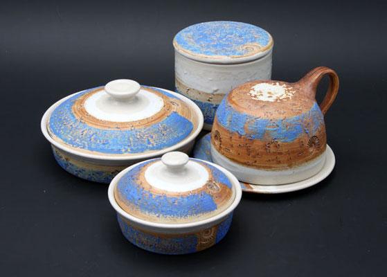 Keramik, Butterdose Dekor Santorin für 1/2 Pfund und 1/4 Pfund Butter, Butterglocke für Salzbutter und Wasserbutterdose
