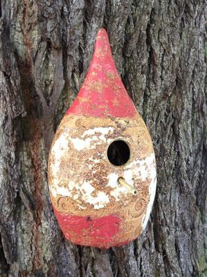 Keramik frostfest, Vogelnisthaus Dekor Granatapfel, auf der Rückseite offen zum Reinigen, Einflugloch ø ca. 28 mm, in verschiedenen Dekoren erhältlich