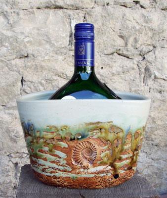 Keramik Weinkühler für Bocksbeutel, Dekor Neuseeland