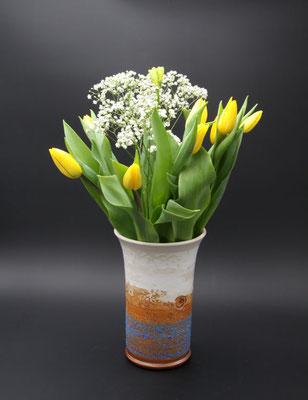 Keramik Vase Dekor Santorin, ø oben ca. 14,5 cm, ø unten ca. 10 cm h. ca. 24 cm