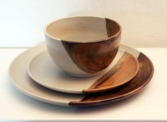 Keramik Speisegedeck Herbstwald mit Speiseteller Kuchenteller Schale ø ca. 13,5cm h ca. 7,5 cm
