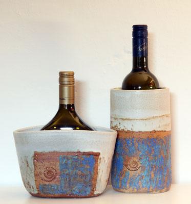 Keramik Weinkühler für Literflasche oder Bocksbeutel, Dekor Santorin