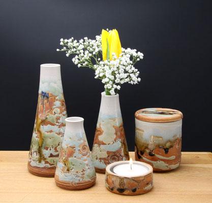 Vasen, Dose und Teelicht Dekor Neuseeland