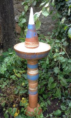 Keramik frostfest, Stele als Vogeltränke ca. 80 cm hoch Dekor Santorin