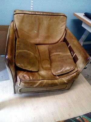 mrylinegrac- tapissier d'ameublement- fauteuil en cuir à rénover
