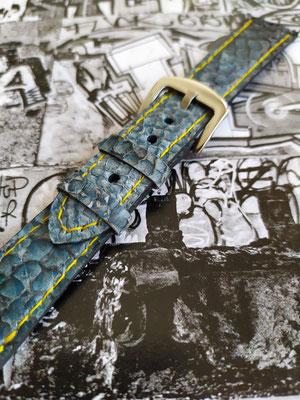 Bracelet de montre en cuir de poisson bleu