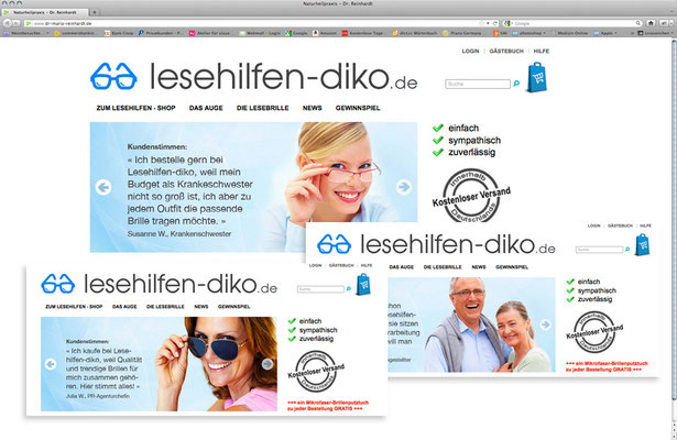 "Lesebrillen Shop, Webseite-Optimierung, Konzept ""Teaser"""