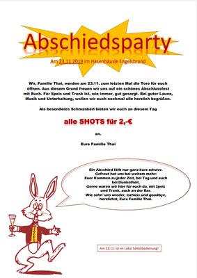 Liebe Gäste, wir bitten Sie  mit ihre Gutscheine bis zum 22.11.19 bei uns einzulösen!!!