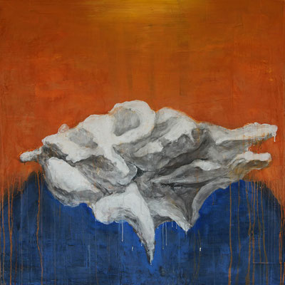 whale fall 124cmx124cm material paper acrylic paints