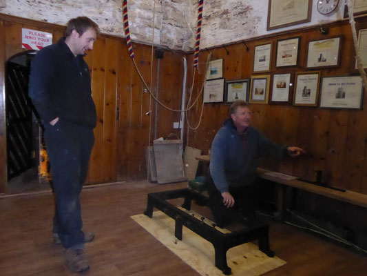 Lunk and Dave with the frame in the Ringing Chamber
