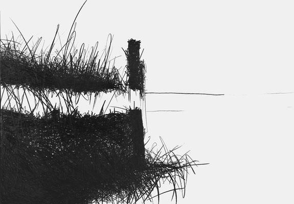 Serie EMSCHER, Flussabschnitt 1, Grafit Zeichnung Thomas Autering