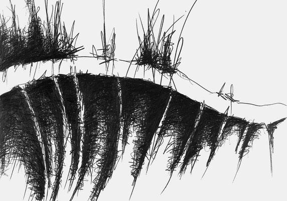 Serie EMSCHER, Flussabschnitt 4, Grafit Zeichnung Thomas Autering