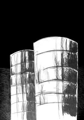 Serie DER DEUTSCHE PAVILLON, Zeichnung 4, Mischtechnik, Thomas Autering