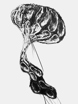 """Grafik aus Dortmund 2021, Zeichnung """"Supersymmetry 1"""" Grafit auf Papier, Atelier Thomas Autering"""