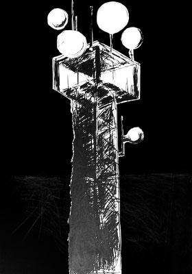 Serie DER DEUTSCHE PAVILLON, Zeichnung 3, Mischtechnik, Thomas Autering