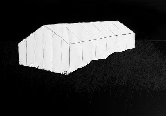 Serie DER DEUTSCHE PAVILLON, Zeichnung 1, Mischtechnik, Thomas Autering