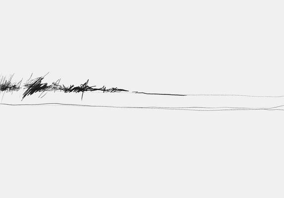 Serie EMSCHER, Flussabschnitt 5, Grafit Zeichnung Thomas Autering