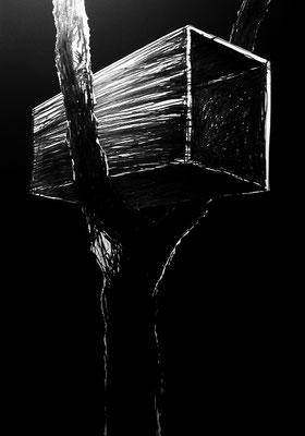 Serie DER DEUTSCHE PAVILLON, Zeichnung 2, Mischtechnik, Thomas Autering