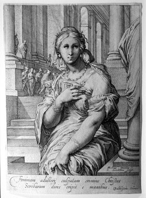 Jan Pietersz Saenredam (1565-1607), Adultera, kUPFERSTICH