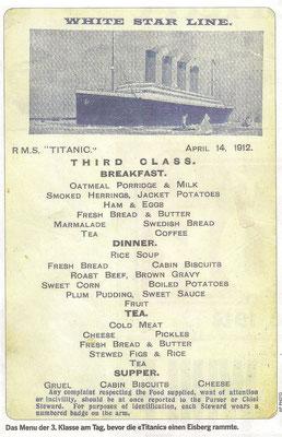 Menu 3.Klasse auf der Titanic, Vorabend des Untergangs