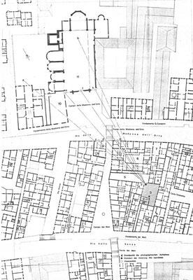 Grundriss-Triangulation der Blickrichtung des Atelierstandortes zur Madonna dell'Orto