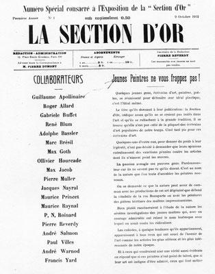 Section d'Or numero special 9.octobre 1912 frontispiz
