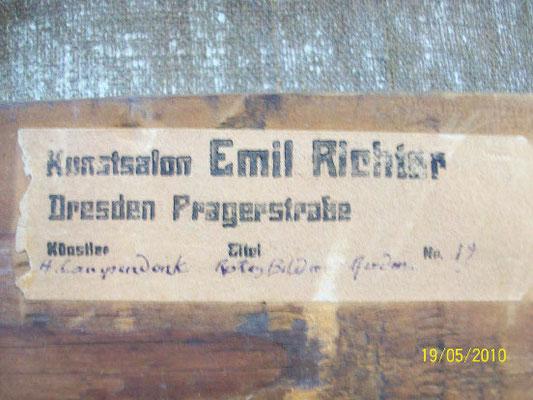 """gefälschte Etikette """"Galerie Richter"""" (Campendonk)"""