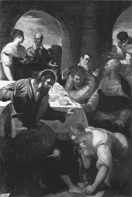 Tintoretto und Bottega, Magdalenas Salbung Jesu, 1562, seitenverkehrt, Padua Mus.civico (s.&d). 1562; Erstaunensgestus Christi