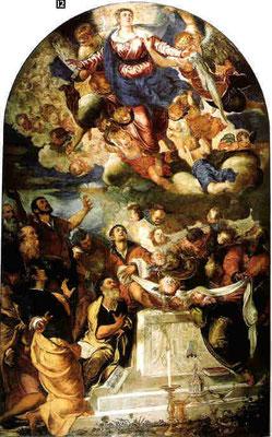 Jacomo Tintoretto, Himmelfahrt Mariens, Venedig, Gesuitikirche