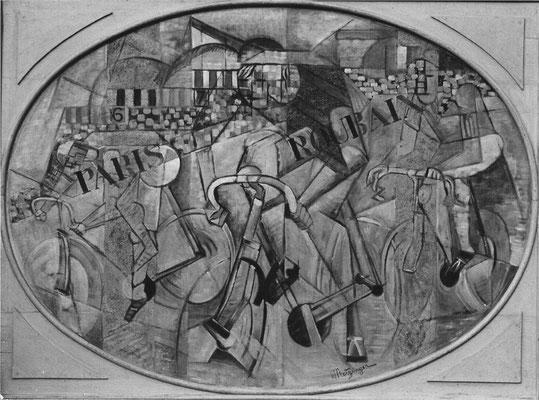 """Fälschung Metzinger,""""Radrennen"""" 1912, Öl/Lw.98x130cm (oval) , privat D"""