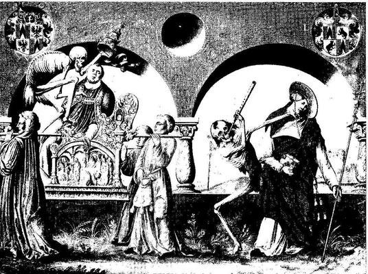 Albrecht Kauw 1649 Totentanz nach Niklaus Manuel n.1517: auf dem Thron des Papstes  Vertreibung der Wechsler & E