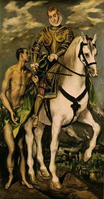 """El Greco, Hl.Martin mit Toledovedute und """"Noria"""" im Hintergrund Lw.193x103cm Washington, Nat.Gall."""