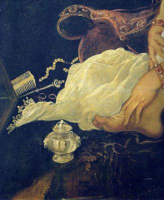 Jacopo Tintoretto Wiener Susanna, Detail: Mieder, Geschmeide und Räucherpyxis