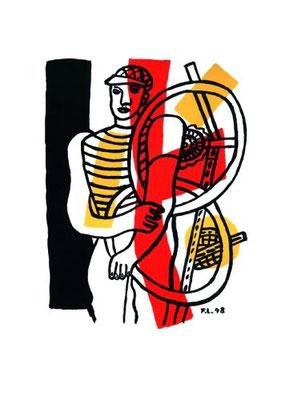 Fernand Léger, le cycliste, Lithographie 1948